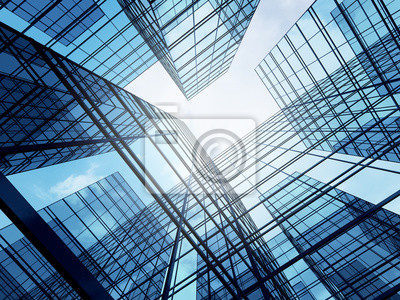 Plakat View of high rise glass building and dark steel window system on blue clear sky background,Business concept of future architecture,looking up to the sun light on the top of building. 3d render