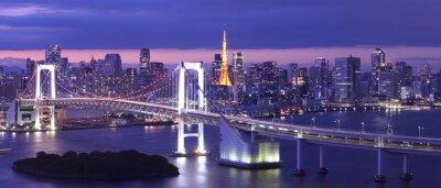 Plakat view of Tokyo Bay , Rainbow bridge and Tokyo Tower landmark