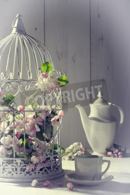 Plakat Vintage afternoon tea with birdcage filled with spring blossom