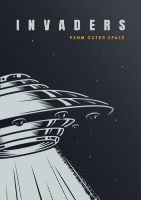 Plakat VIntage alien invasion poster