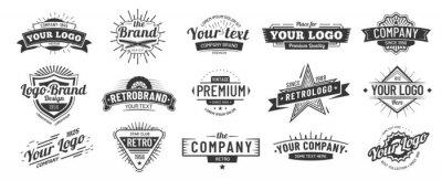 Plakat Vintage badge. Retro brand name logo badges, company label and hipster frame vector illustration set