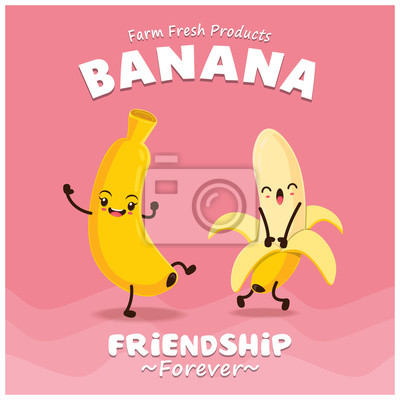 Vintage Banana projekt plakatu z charakterem wektora bananów.