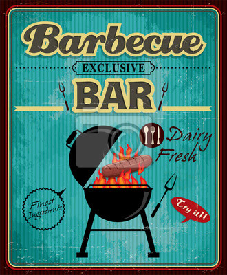 Vintage bar grill projekt plakatu