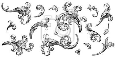 Plakat Vintage Baroque Victorian frame border flower pattern vector floral engraved scroll ornament leaf retro decorative design tattoo black and white filigree calligraphic heraldic shield swirl