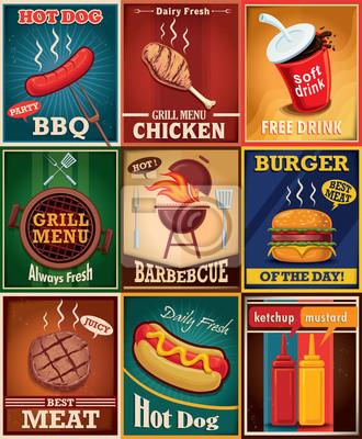 Vintage bbq grill poster design set