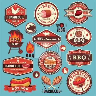 Vintage BBQ party label design set