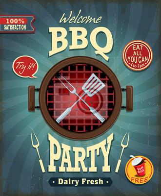 Vintage BBQ party poster design