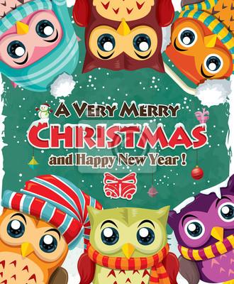 Vintage Boże Narodzenie wzór z sowy plakat
