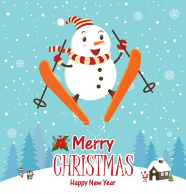 Vintage Boże Narodzenie z bałwana plakat projekt