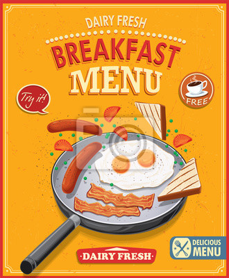 Vintage breakfast menu poster design