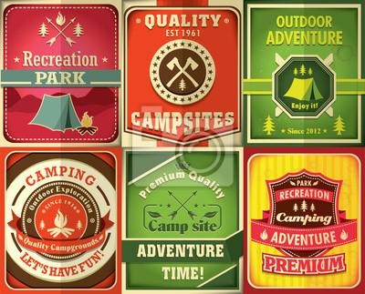 Vintage camping poster design set