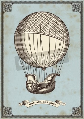 Plakat vintage card with hot air balloon