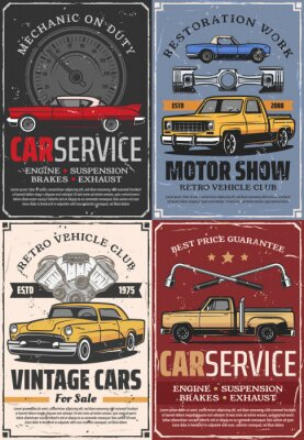 Plakat Vintage cars, auto vehicle spare parts and pistons