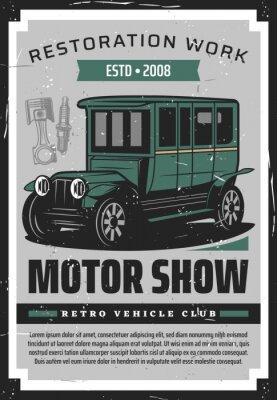 Plakat Vintage cars retro poster, vehicles club and old rarity motor cars show. Vector retro vehicles rally motors racing, mechanic restoration, maintenance and repair garage station