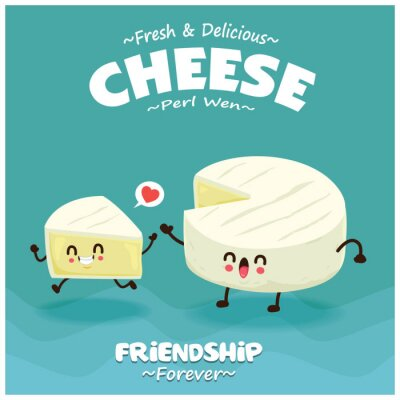 Vintage Cheese poster design with vector peal wen cheese character.