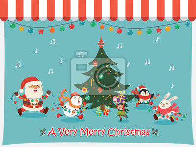 Vintage Christmas plakat projekt wektor Święty Mikołaj, elf, bałwan, królik, pingwin znaków.