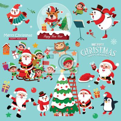 Vintage Christmas plakat projekt z bałwana wektor, renifery, pingwiny, Święty Mikołaj, elf, postacie.