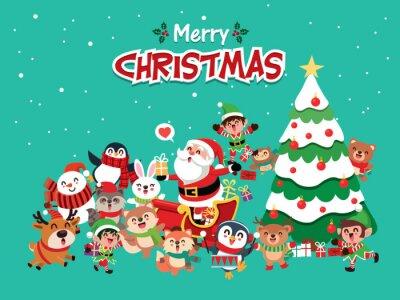 Vintage Christmas plakat projekt z pingwina wektor, bałwan, Święty Mikołaj, elf, renifer, szop, lis, królik, sowa, niedźwiedź znaków.
