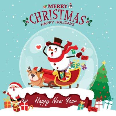 Vintage Christmas plakat projekt z pingwina wektor, bałwan, Święty Mikołaj, elf, renifery znaków.