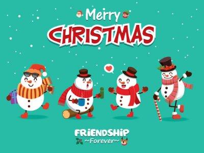 Vintage Christmas plakat projekt z postaciami bałwana, Świętego Mikołaja, elfa, renifera.