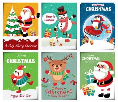 Vintage Christmas plakat projekt z wektor bałwana, renifery, pingwina, Świętego Mikołaja, elfa, lisa znaków.