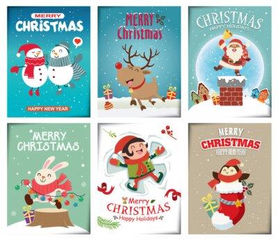 Vintage Christmas plakat projekt z wektor Święty Mikołaj, elf, pingwin, królik, postacie.