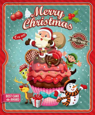 Plakat Vintage Christmas plakat projektu z Santa Claus, ciastko
