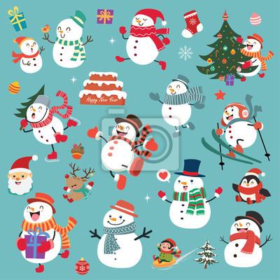 Vintage Christmas plakat projektu z wektora Święty Mikołaj, bałwan, renifery znaków.
