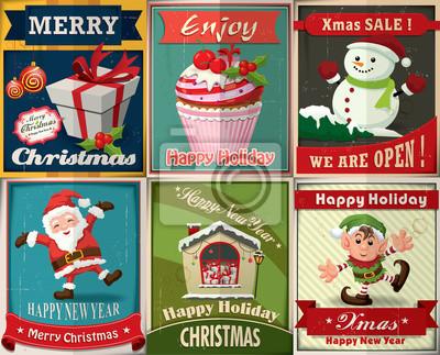 Vintage Christmas plakat scenografia
