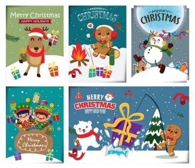 Vintage Christmas poster design set with vector Snowman, Santa Claus, reindeer, elf, bear, gingerbread man characters.