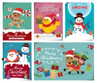 Vintage Christmas poster design set with vector Snowman, Santa Claus, reindeer, elf, bird gingerbread man characters.