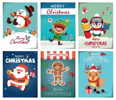 Vintage Christmas poster design set with vector Snowman, Santa Claus, reindeer, elf, penguin, gingerbread man characters.