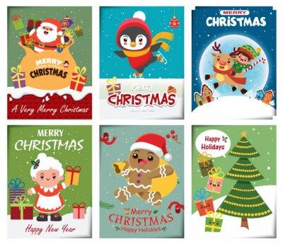 Vintage Christmas poster design set with vector Snowman, Santa Claus, reindeer, elf, penguin, Santa Lady , gingerbread man characters.
