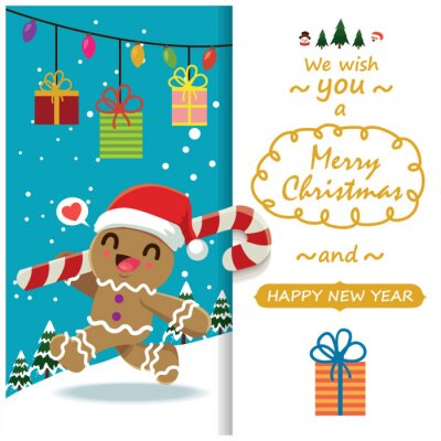 Vintage Christmas poster design with vector gingerbread man, Santa Claus, snowman characters.