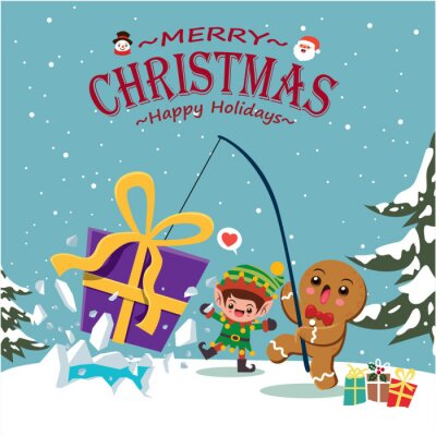 Vintage Christmas poster design with vector gingerbread man, Santa Claus, snowman, elf characters.