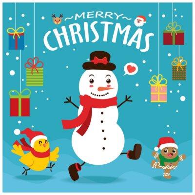 Vintage Christmas poster design with vector gingerbread man, Santa Claus, snowman, reindeer, bird characters.