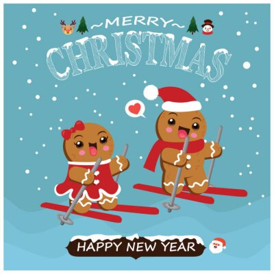 Vintage Christmas poster design with vector gingerbread man, Santa Claus, snowman, reindeer, characters.