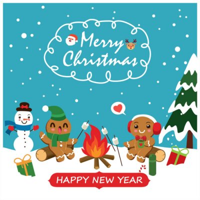 Vintage Christmas poster design with vector gingerbread man, Santa Claus, snowman, reindeer characters.