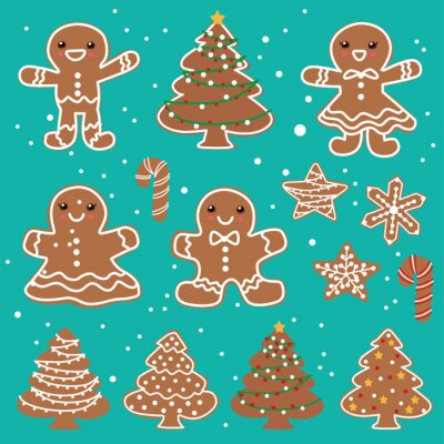 Vintage Christmas poster design with vector gingerbread man, star, tree, candy characters.