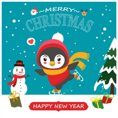 Vintage Christmas poster design with vector penguin, snowman, reindeer, Santa Claus characters.