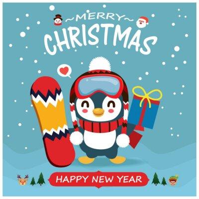 Vintage Christmas poster design with vector penguin, snowman, reindeer, Santa Claus, elf characters.