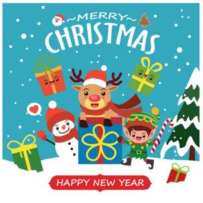 Vintage Christmas poster design with vector Santa Claus, elf, snowman, reindeer characters.