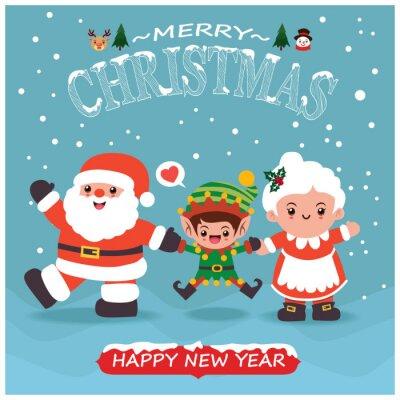 Vintage Christmas poster design with vector Santa Claus, elf, snowman, reindeer, snowman, santa lady characters.