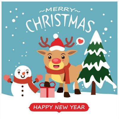 Vintage Christmas poster design with vector Snowman, reindeer characters.