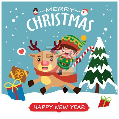 Vintage Christmas poster design with vector Snowman, reindeer, elf, Santa Claus characters.