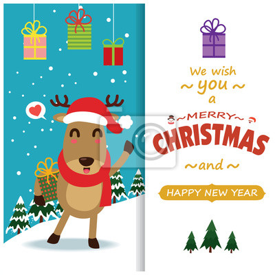 Vintage Christmas poster design with vector Snowman, reindeer, Santa Claus characters.