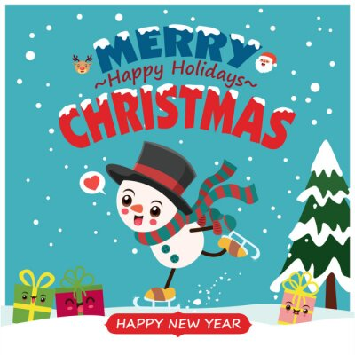 Vintage Christmas poster design with vector Snowman, Santa Claus, reindeer, characters.