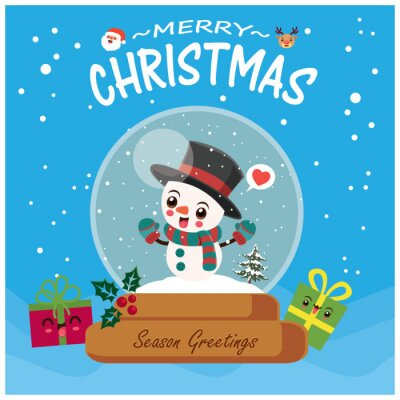 Vintage Christmas poster design with vector Snowman, Santa Claus, reindeer characters.