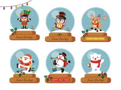 Vintage Christmas poster design with vector Snowman, Santa Claus, reindeer, elf,  bear, penguin characters.