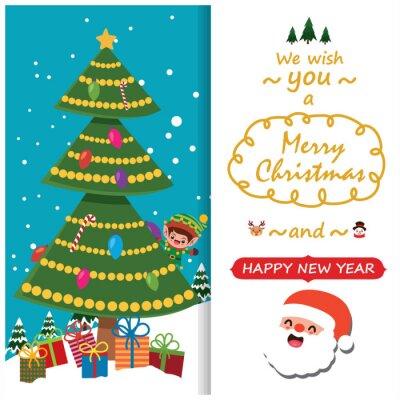 Vintage Christmas poster design with vector Snowman, Santa Claus, reindeer, elf characters.